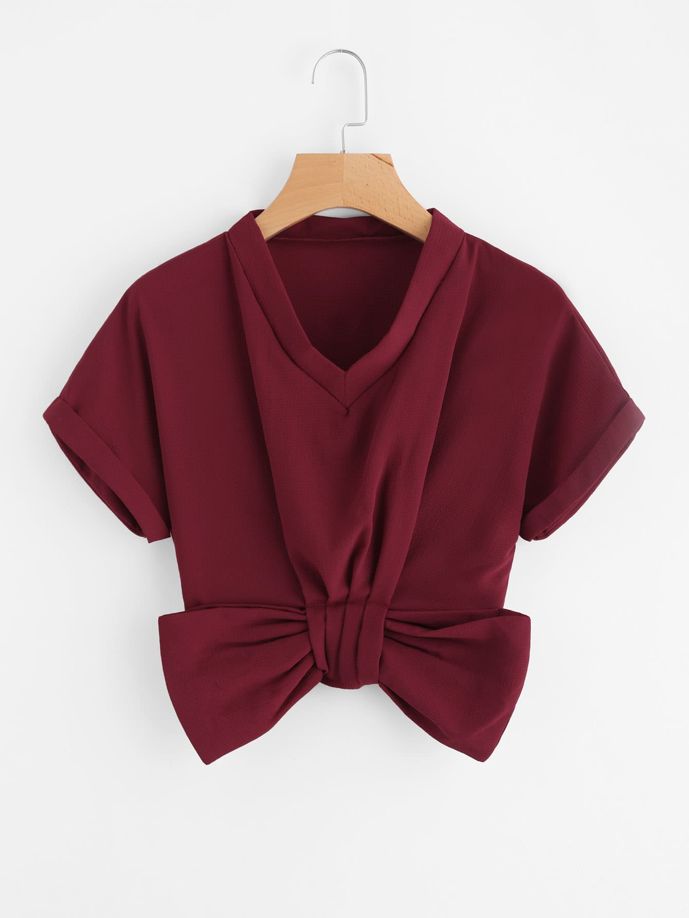V Neckline Bow Trim Cuffed Blouse bow sleeve v neckline blouse