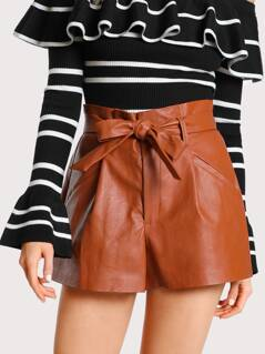 Pleated Leather Shorts RUST