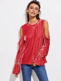 Open Shoulder Drawstring Cuff Velvet Sweatshirt