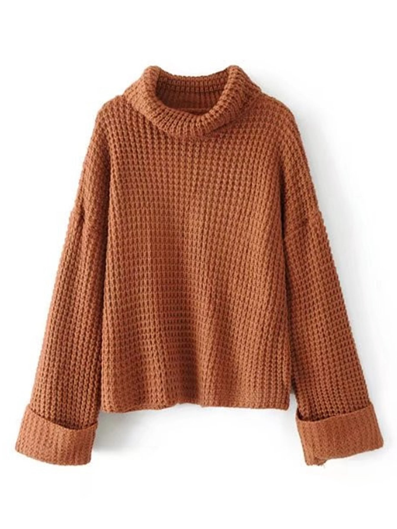 Turtleneck Waffle Knit Sweater -SheIn(Sheinside)