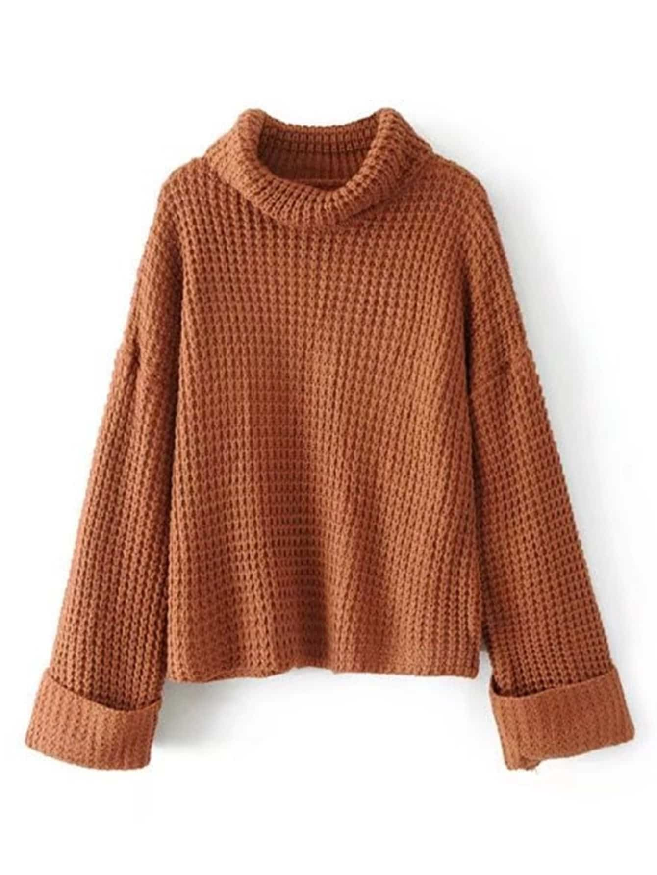 Sweater Knit : Turtleneck waffle knit sweater shein sheinside