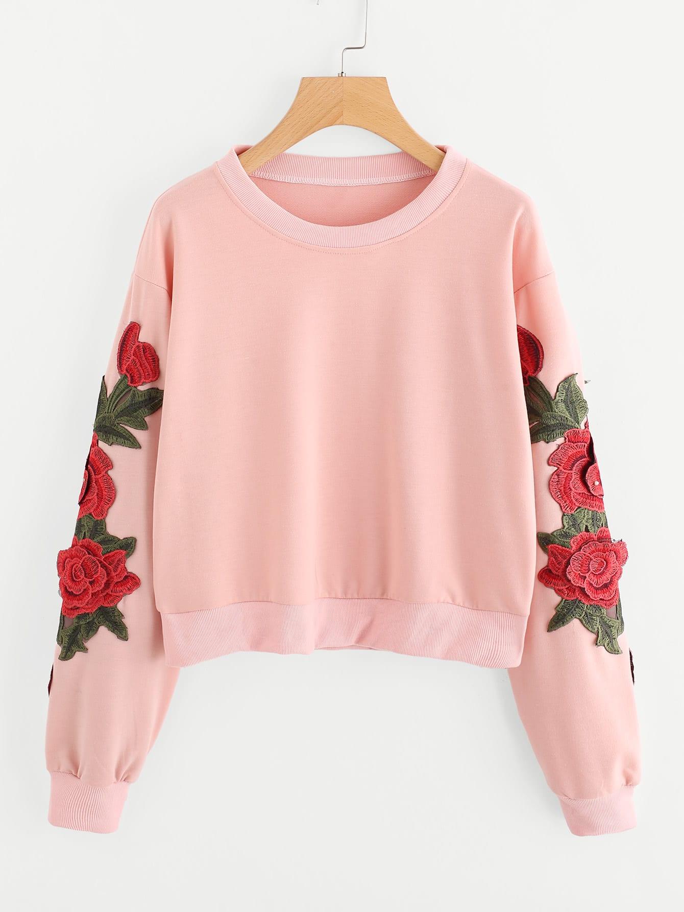 3D Embroidered Applique Crop Sweatshirt