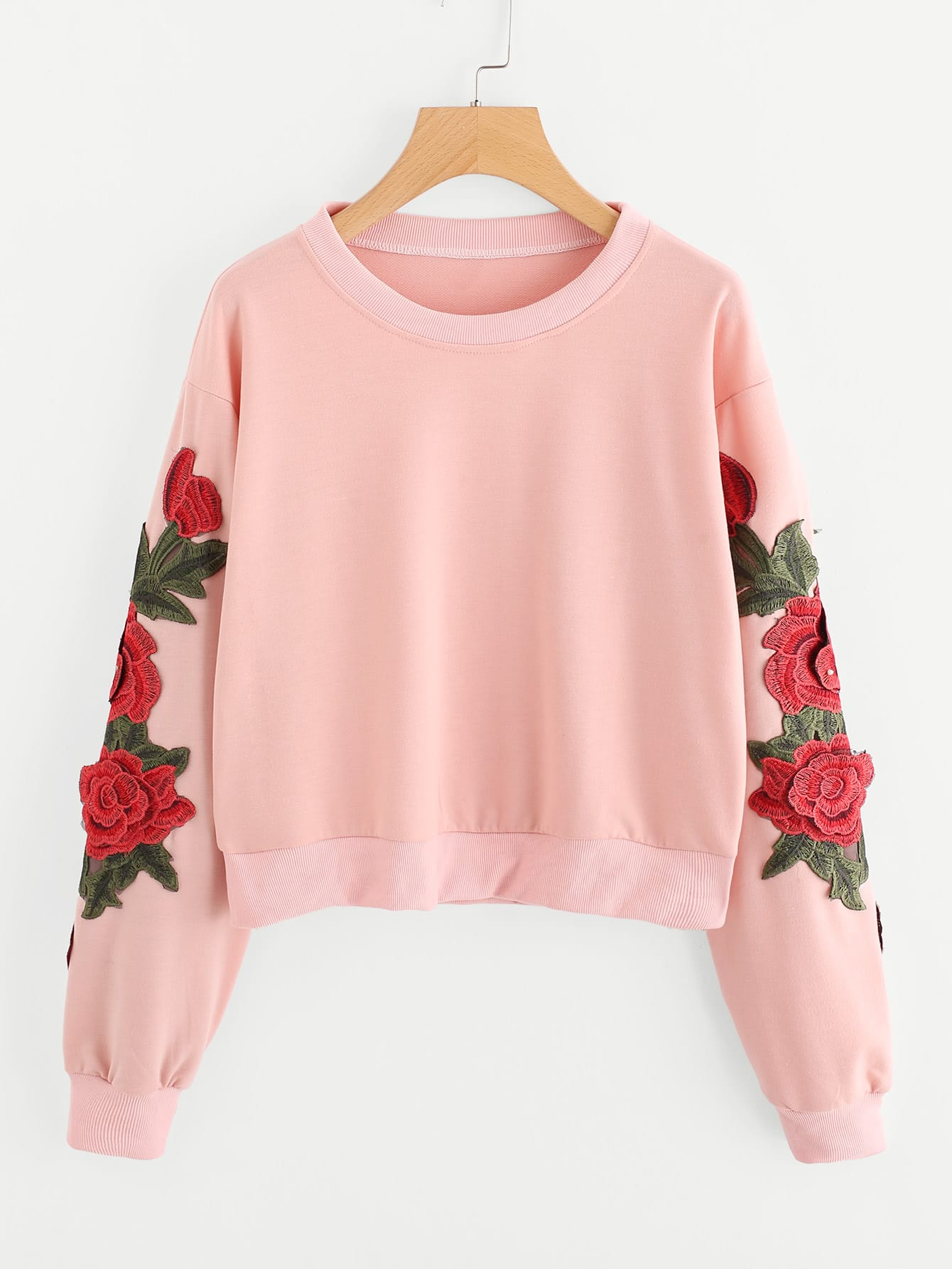 Image of 3D Embroidered Applique Crop Sweatshirt