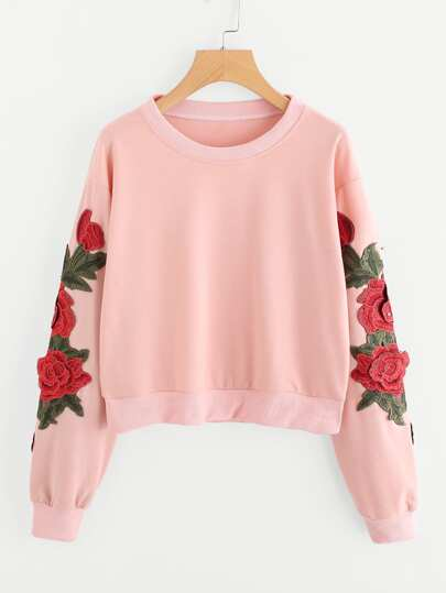 Crop Sweatshirt mit 3D Stickereien und Applikation
