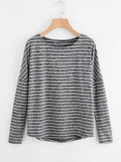 Drop Shoulder Marled Knit Striped Tee