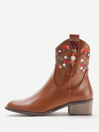 Calico Embroidered Block Heeled Ankle Boots