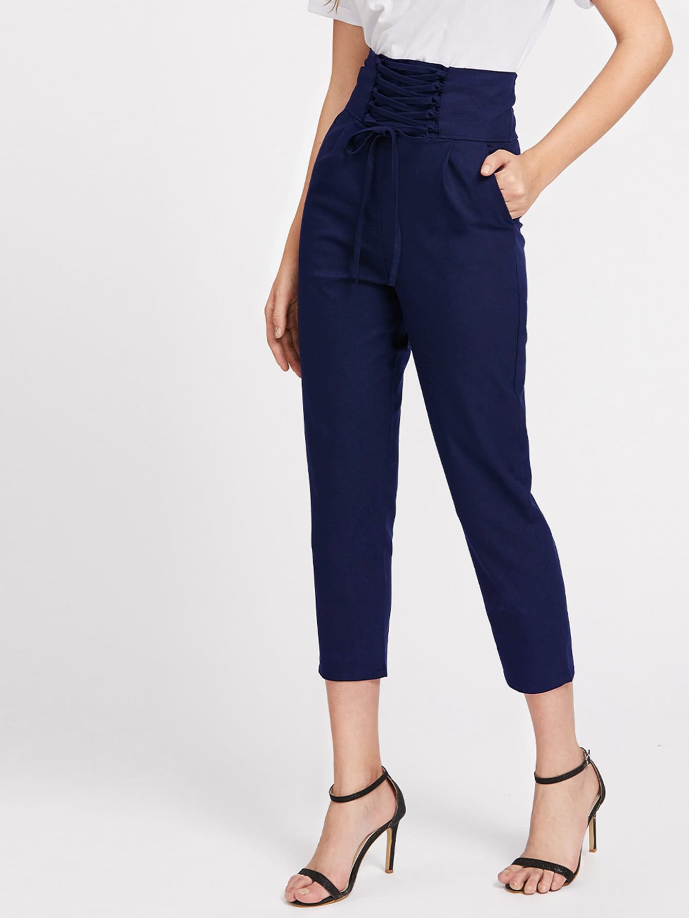 Lace Up Wide Waistband Tailored Pants