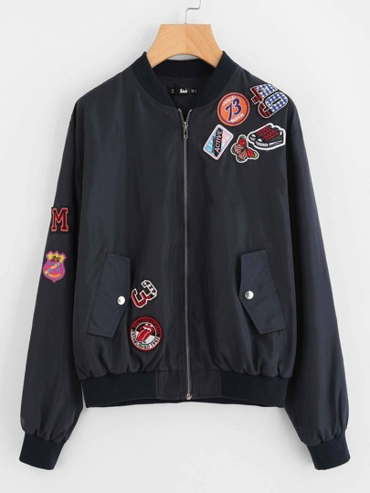 Patch Detail Solid Bomber Jacket