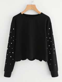 Pearl Beading Scallop Hem Sweatshirt