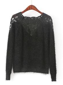 Lace Insert Raglan Sleeve Mohair Sweater