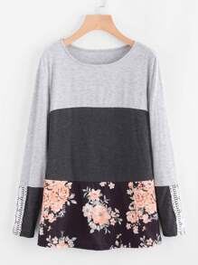 Tee-shirt color-block imprimé fleuri contrasté