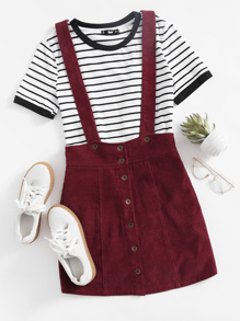 Button Up Cord Pinafore Skirt