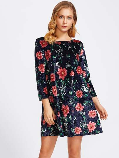 Botanical Print Velvet Swing Dress