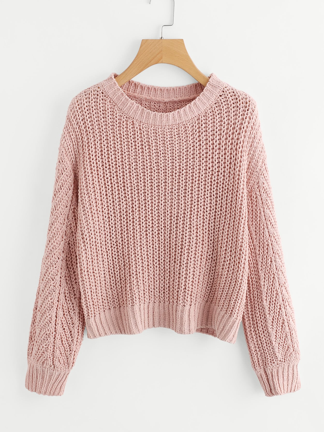 Texture Knit Pullover Sweater -SheIn(Sheinside)