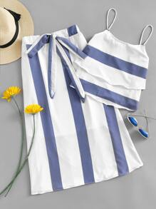 Striped Tiered Cami Top With Knot Front Skirt