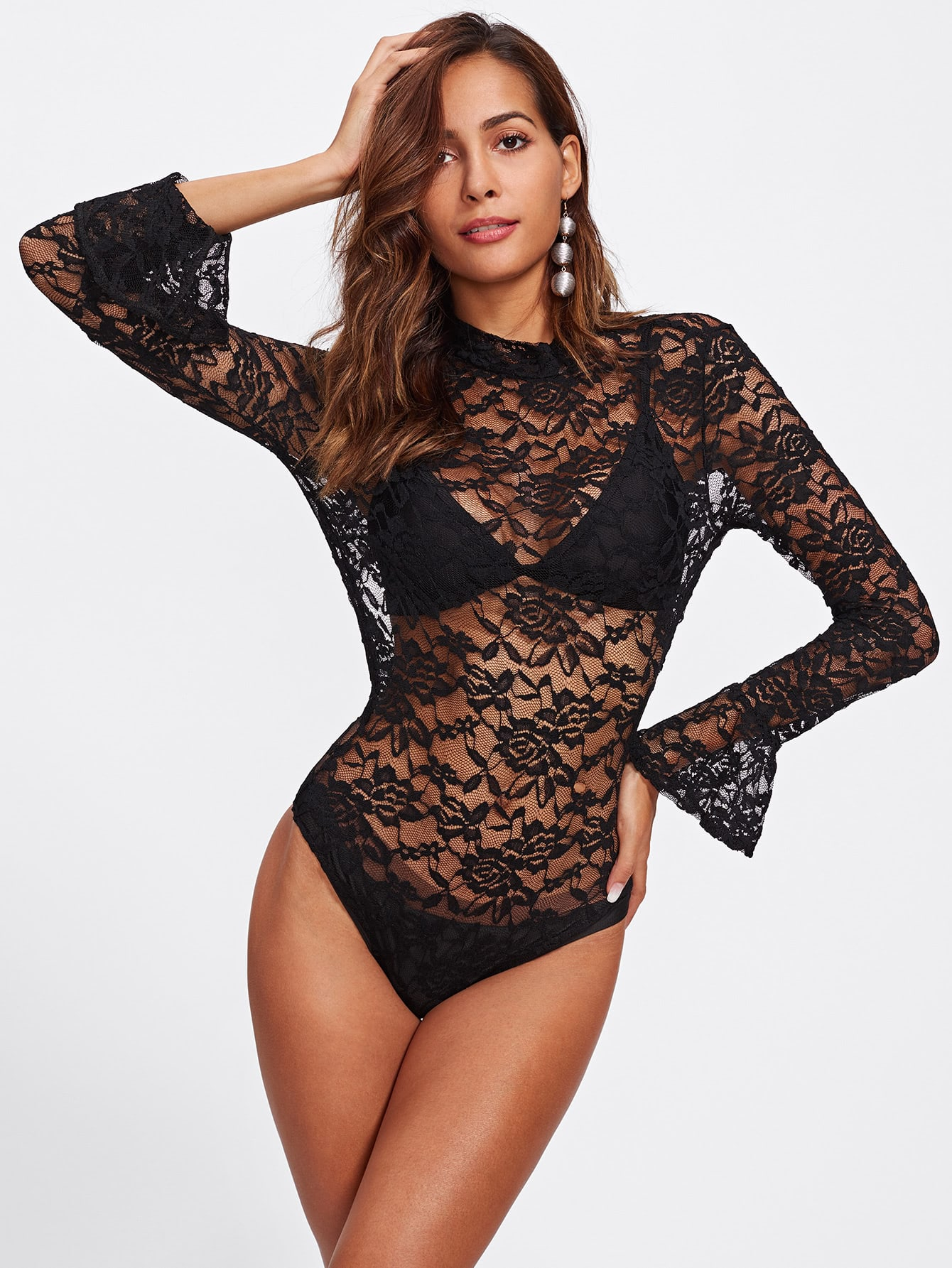 Lace Crochet Bell Sleeve See Through Bodysuit mesh see through cut out crochet tights