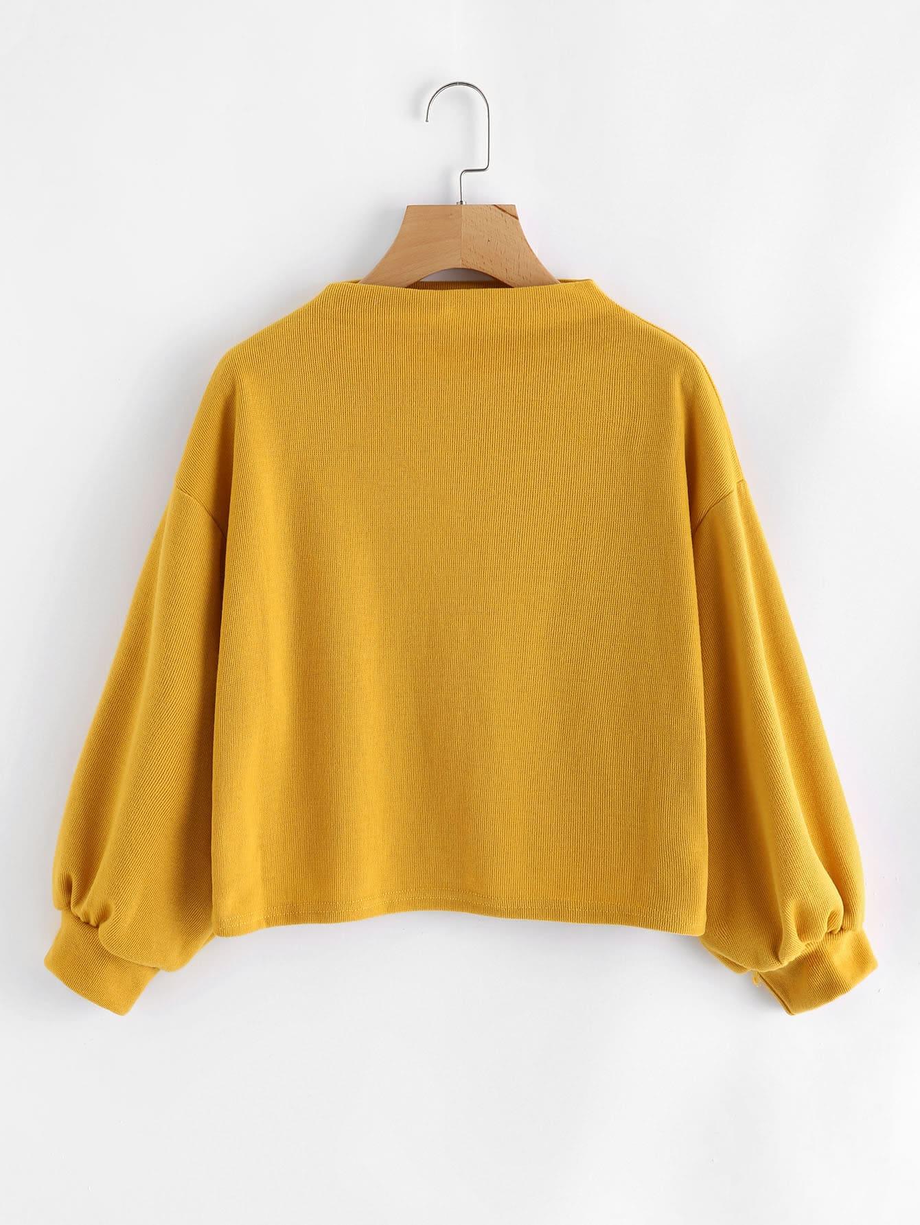 Drop Shoulder Funnel Neck Lantern Sleeve Sweatshirt drop shoulder frilled sleeve sweatshirt