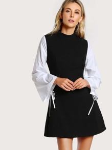 Drawstring Sleeve High Neck Dress BLACK