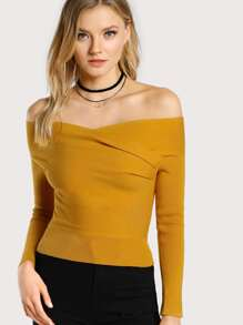 Off Shoulder Long Sleeve Crop Top MUSTARD