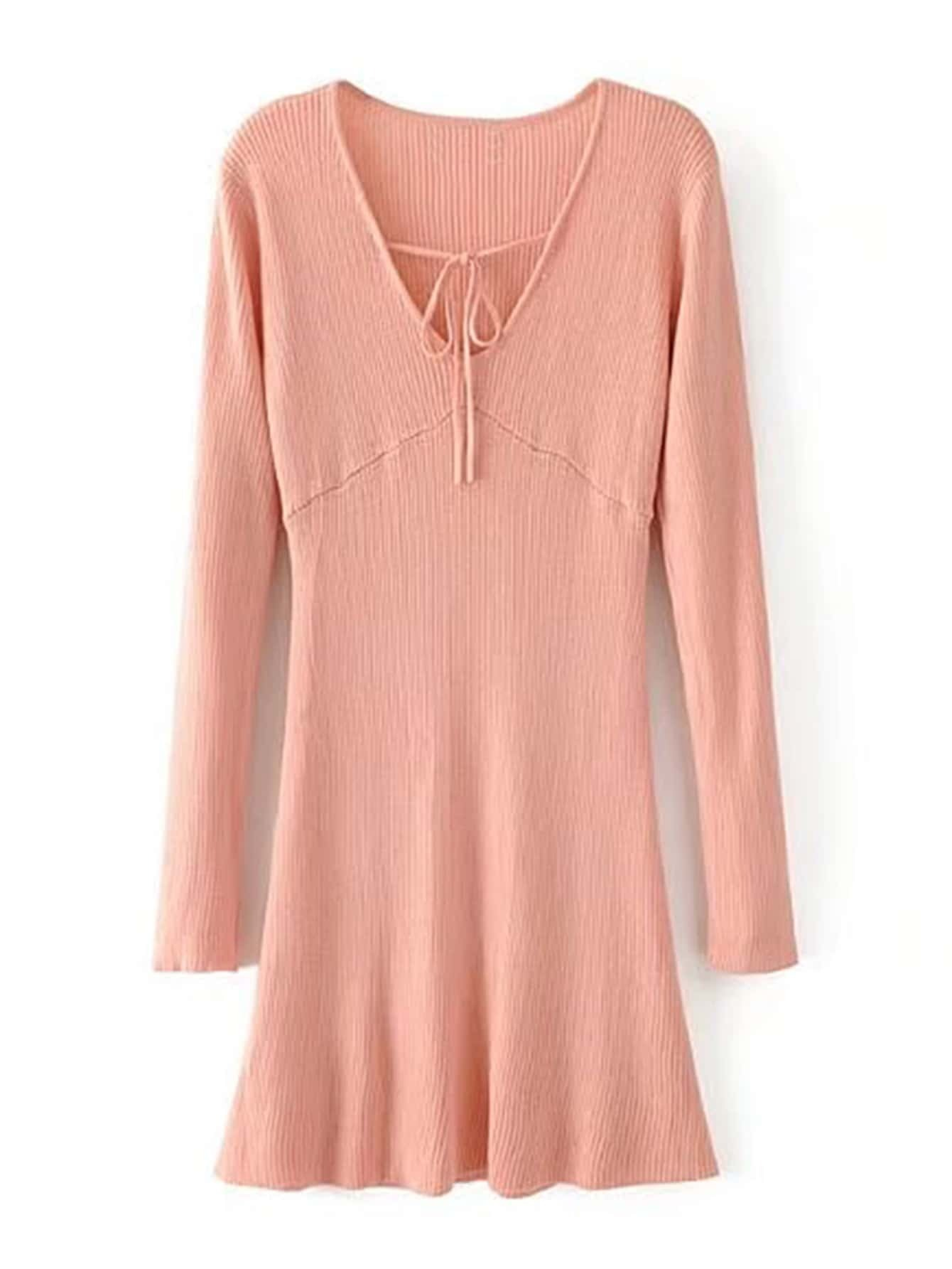 Lace Up V Neckline Ribbed Knit Dress