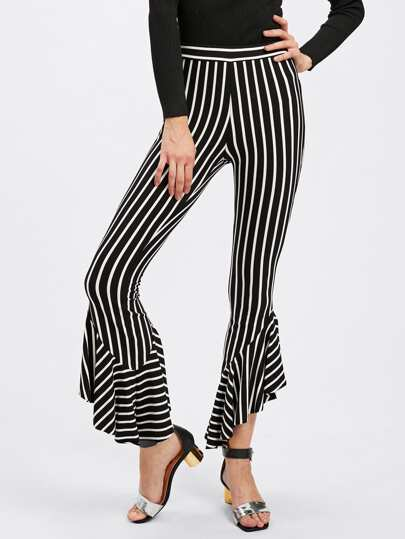 Frill Hem Striped Pants