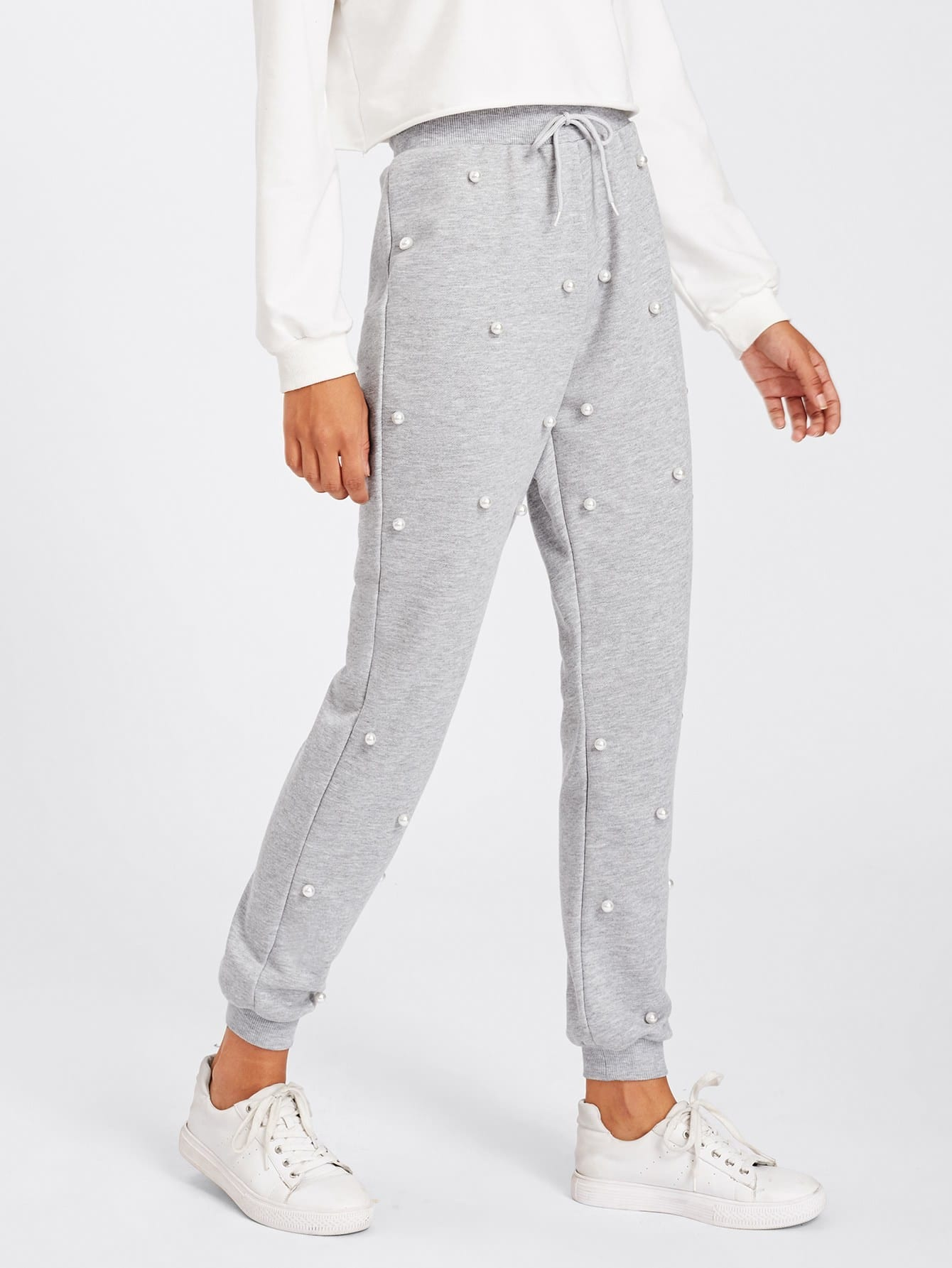 Pearl Beading Heathered Knit Sweatpants pearl embellished drop shoulder heathered knit pullover