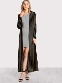 Striped Floor Length Duster BLACK GOLD