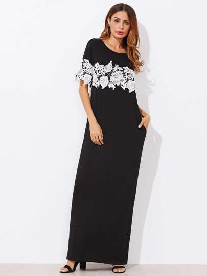 Contrast Lace Applique Column Dress