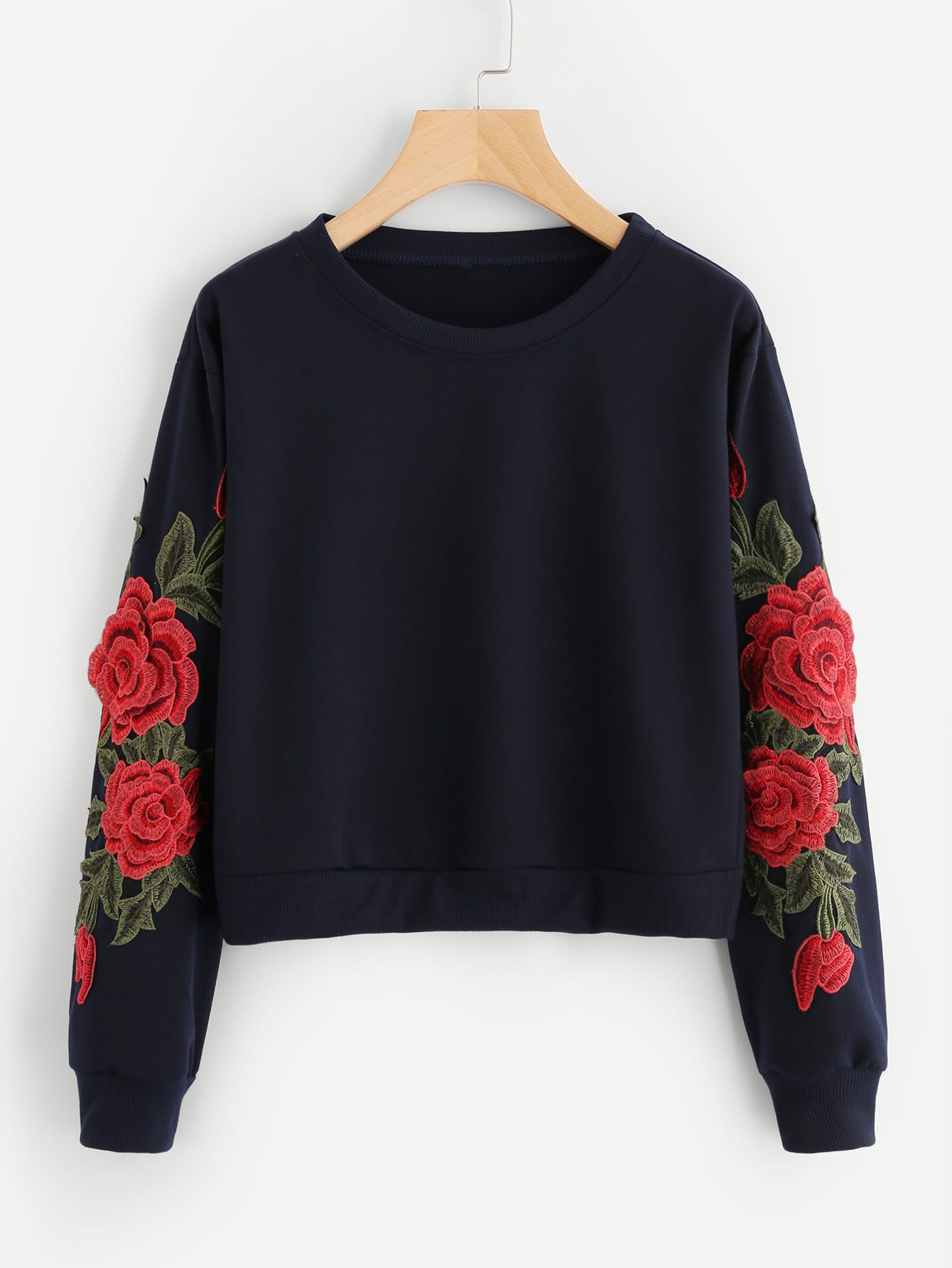 Rose Embroidered Applique Sleeve Sweatshirt embroidered rose applique side split belt dress