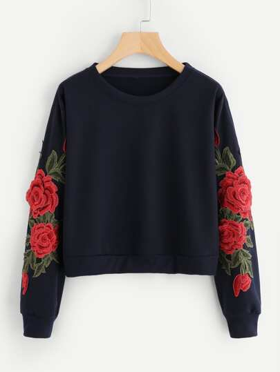 Sweat-shirt manche avec applique de rose brodé