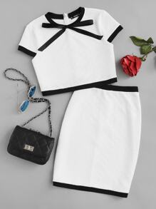 Contrast Trim Bow Neck Textured Top & Skirt Co-Ord
