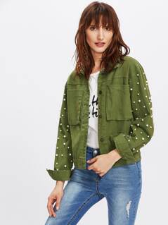Patch Pocket Front Pearl Beading Jacket