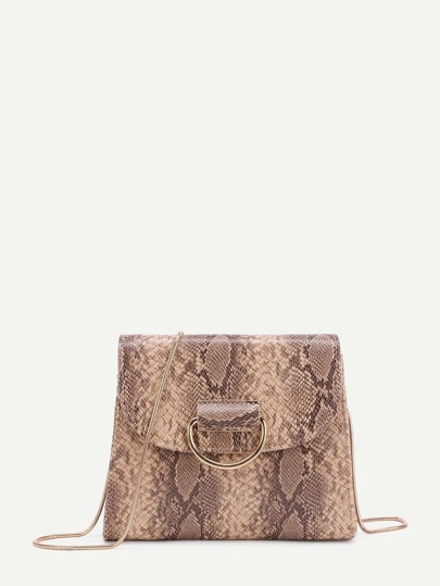 Snakeskin Pattern PU Flap Chain Bag