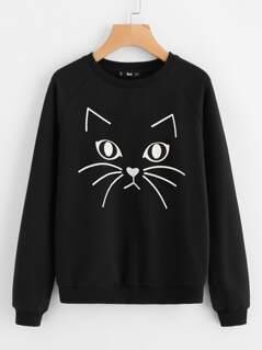 Cat Print Raglan Sleeve Sweatshirt