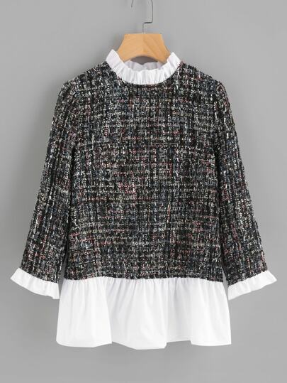 Contrast Frill Trim Tweed Top
