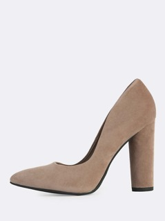 Pointy Toe Round Heels CEMENT