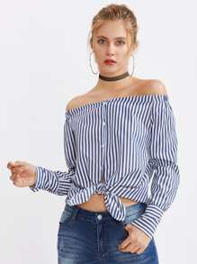 Bardot Contrast Striped Curved Hem Top