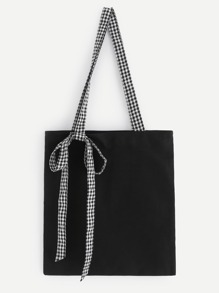 Gingham Print Handle Tote Bag
