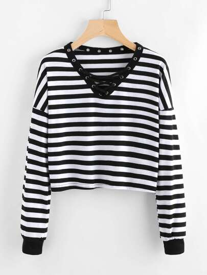 Eyelet Lace Up Neck Striped T-shirt