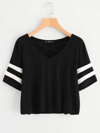 Crisscross Neck Striped Sleeve Tee