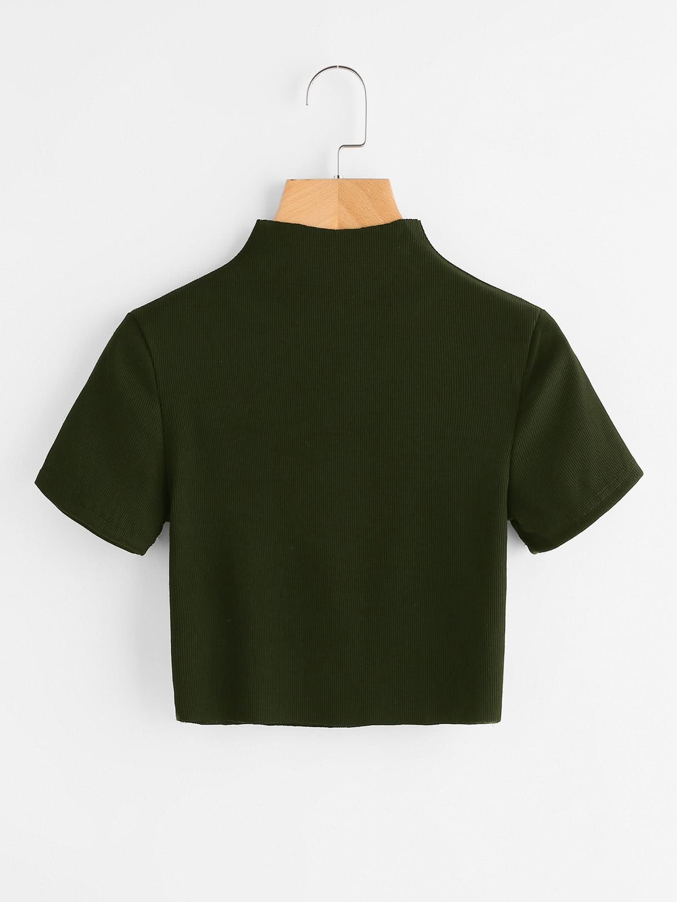 High Neck Ribbed Crop Sweater sweater170919126