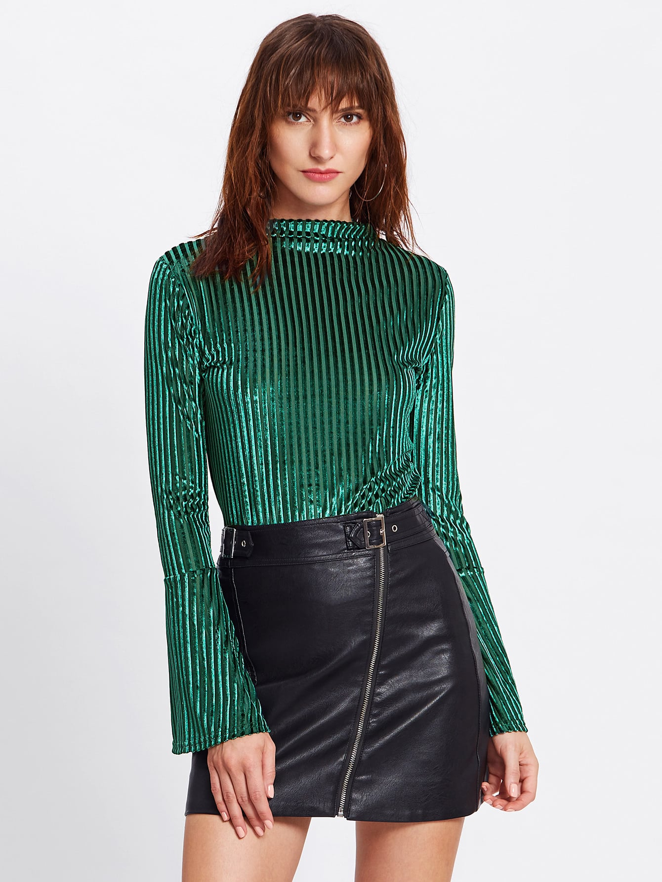 Fluted Sleeve Ribbed...