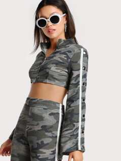 Snap Button Sleeve Zip Up Camo Crop Top ARMY