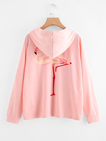 Flamingo Print Pocket Hooded Sweatshirt