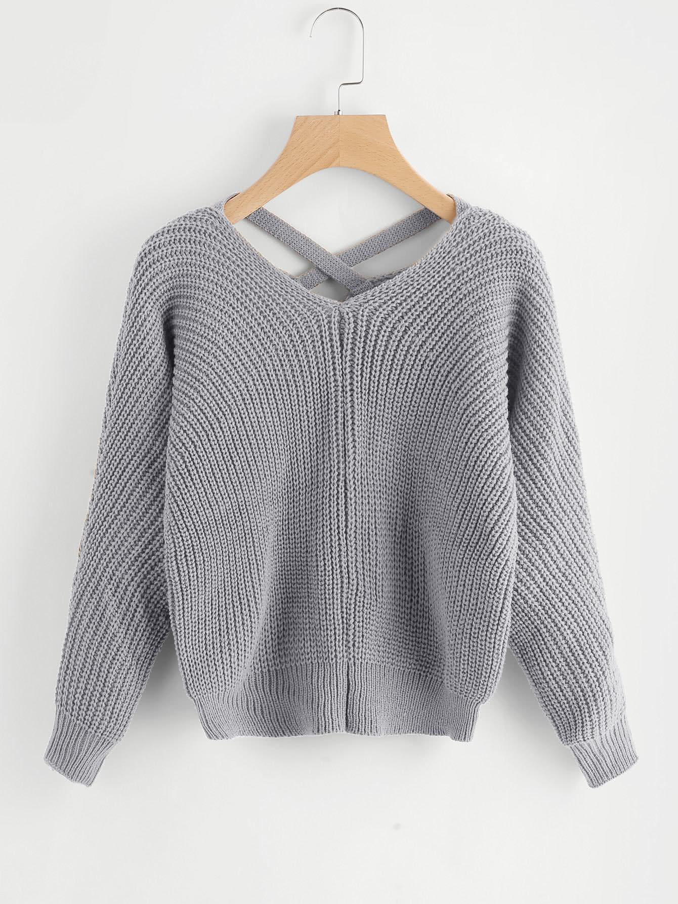 Criss Cross V Back Chunky Knit Sweater twist back crop chunky knit sweater