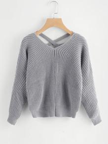 Strick Pullover mit Kreuzgurte und V hinten