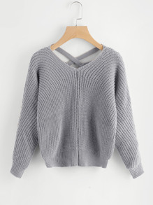 Criss Cross V Back Chunky Knit Sweater