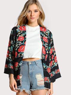 Floral Print Blazer BLACK