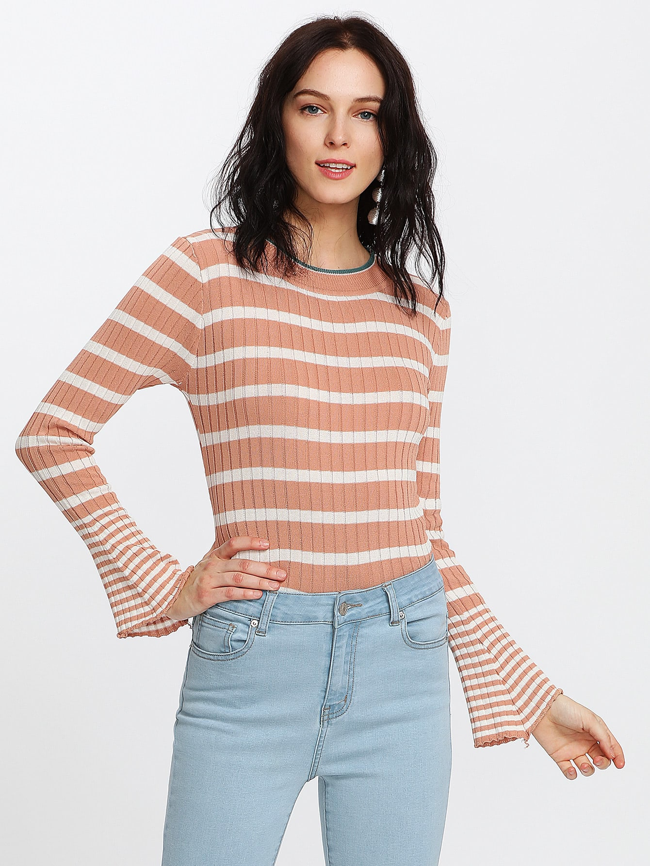 Fluted Sleeve Striped Ribbed Sweater sweater170918458