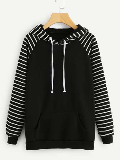 Kangaroo Pocket Raglan Striped Hoodie